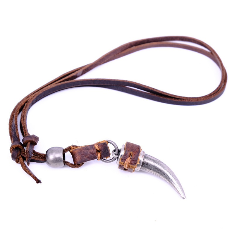 NIUYITID Horn Pendant Necklace Men Brown Genuine Leather Necklace Jewellery Manmade Ethnic Charm Accessories Drop Shipping (3)