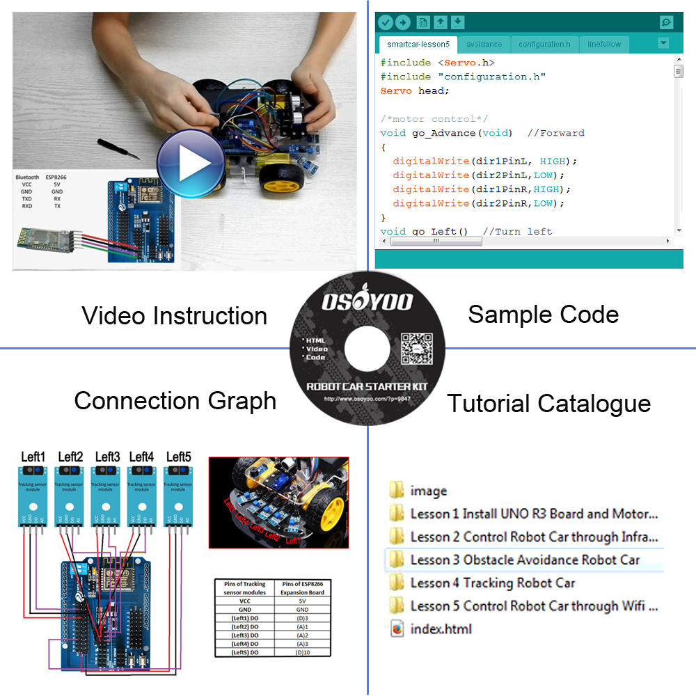 Image 3 - OSOYOO 4WD DIY Smart Robot Car For Arduino Starter Learning kit Bluetooth WiFI Expansion Module Board ios  Android APP-in Demo Board from Computer & Office