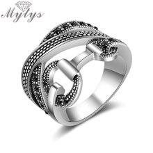 Mytys Line крест ссылка с пряжкой уникальный дизайн кольцо ретро черный цвет марказит кольцо для женщин ювелирные изделия Anillos Mujer R2125