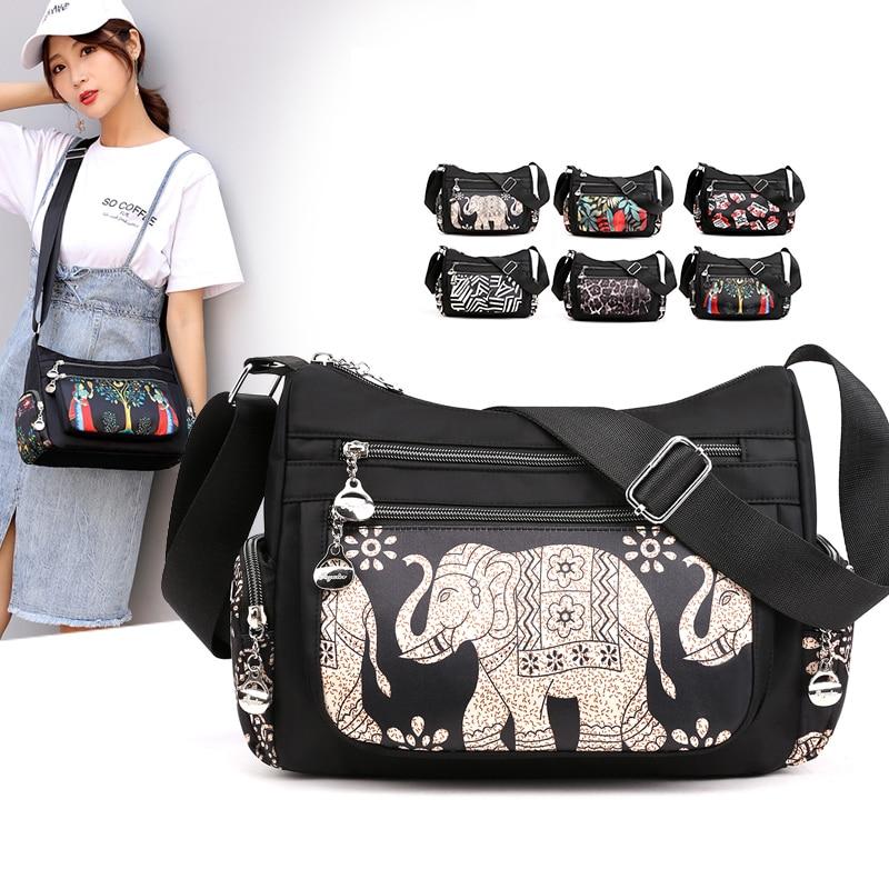 Fashion Cartoon Priting Bag Multi-Pocket Women Shoulder Bag High Quality Waterproof Nylon Fabric Messenger Bag Female Handbag
