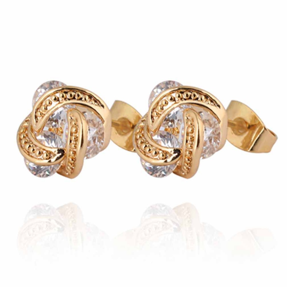 Free Shipping  Brand New  Elegant Jewellery Gold Plated Clear Crystal Twisted Design Small Stud Earrings  jewellery