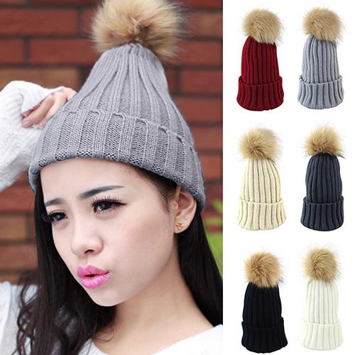 Women's Winter Braided Crochet Knit Hat Beanie Fluffy Ball Baggy Warm Cap