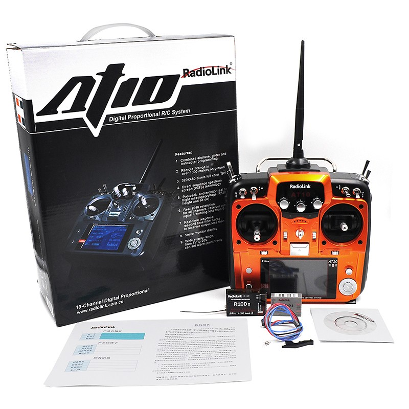 RadioLink AT10 upgraded AT10 II 2.4Ghz 10CH RC Transmitter with R12DS II Receiver PRM-01 for RC Airplane Helicopter Quad copter radiolink at10 2 4g 10ch transmitter with r10d receiver
