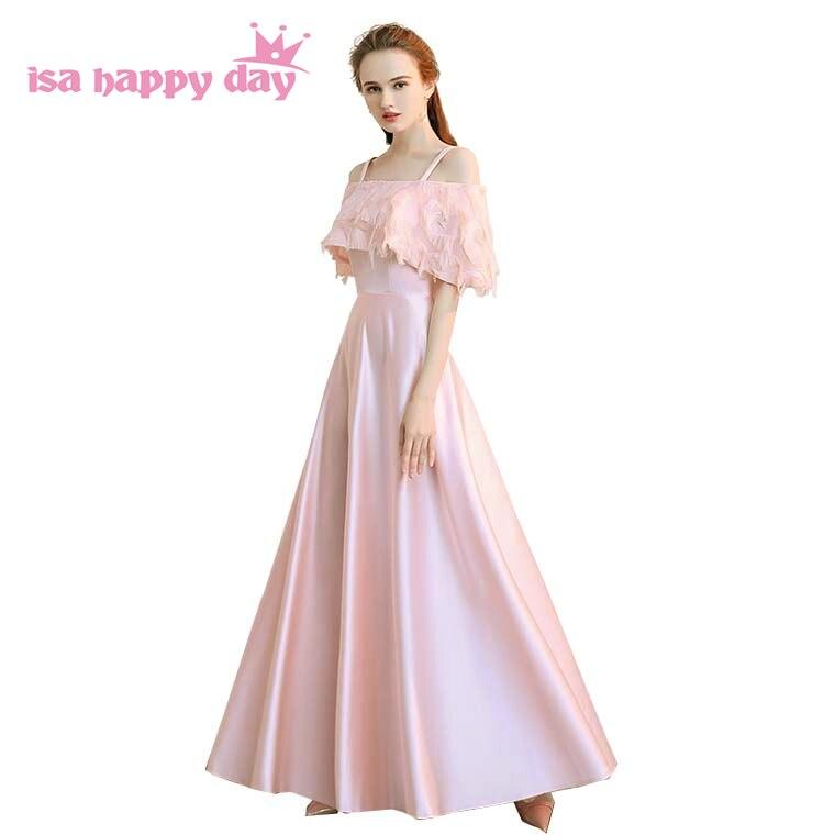 pink off shoulder boat neck   bridesmaid     dress   ladies romantic bridal   dresses   with sleeves long lace elegant pink wedding H4179