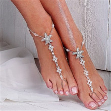 Fashion Starfish Mosaic Zircon Anklets Bracelets Charm Simulated Pearl Beads Toe Chain For Female Foot Jewelry