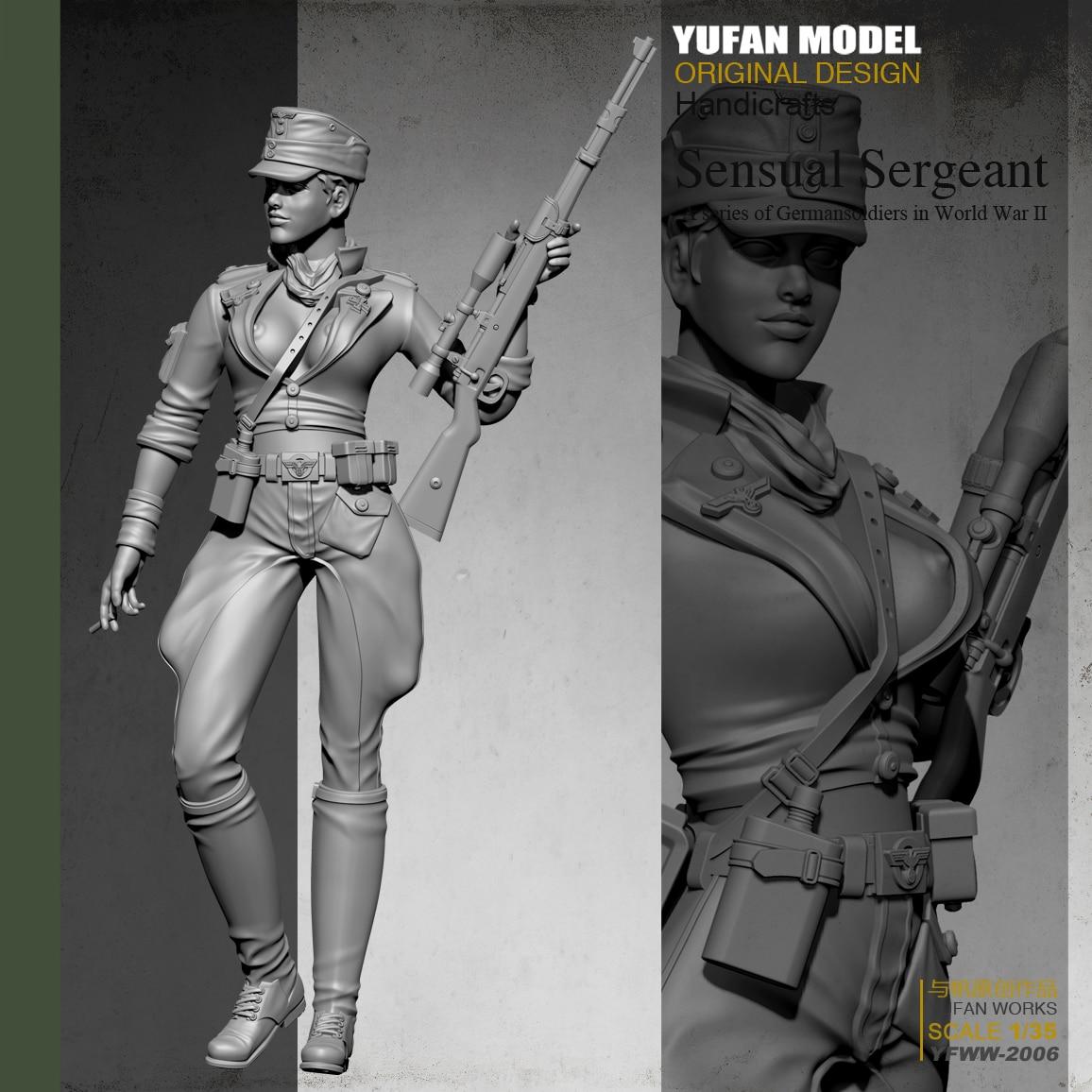 Yufan Modelo 1/35 do Sexo Feminino Sniper Soldado Resina Incolor E Self-assembled Yfww-2006