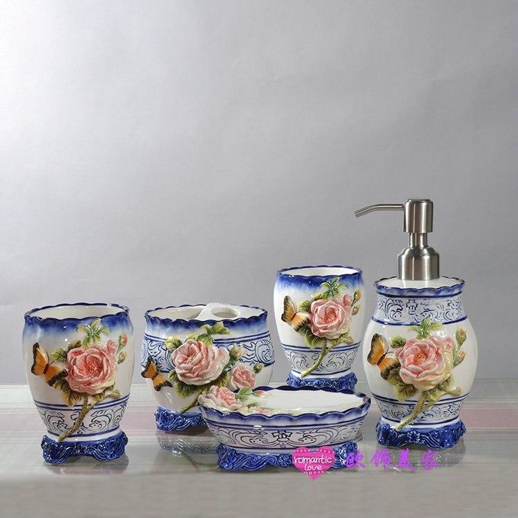 Бабочка Голубая керамических зубных щеток мыльница Аксессуары для ванной комнаты Комплект Home decor фарфоровая статуэтка Свадебные украшения