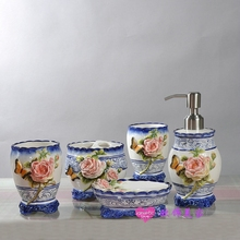 butterfly blue ceramic toothbrush holder soap dish bathroom accessories set kit home decor porcelain figurine wedding decoration