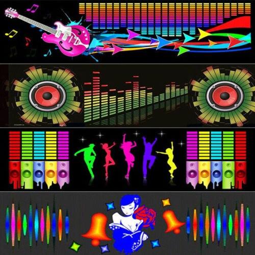 CYAN SOIL BAY 90*25cm Car Dancing Music Rhythm LED Flash Lamp Stickers Sound Activated LED Light Guitar Horn