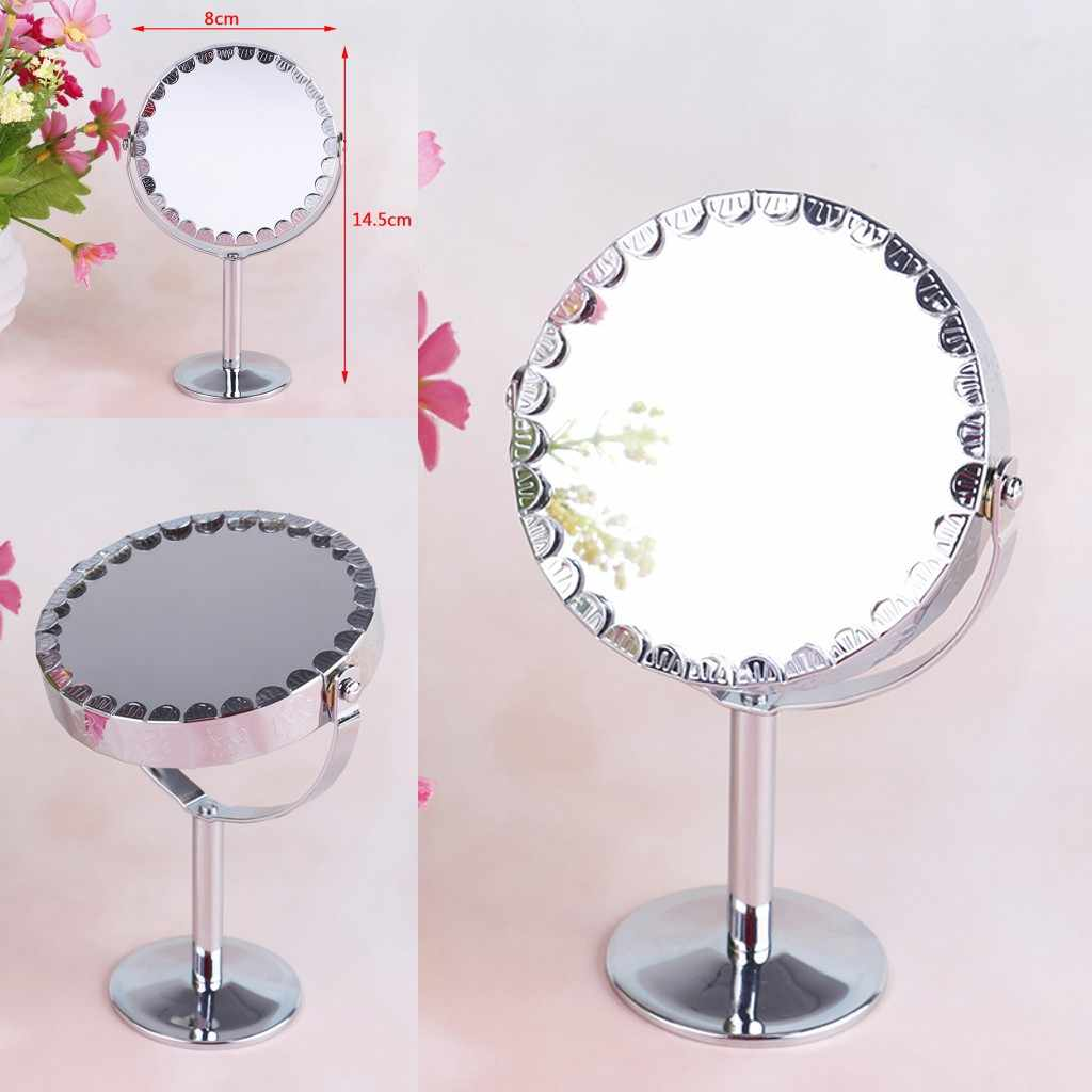 1PC Portable Compact Mirror Makeup Mirror Round Rotating Cosmetic Mirror Stand Magnifier Mirror Silver Color For Women