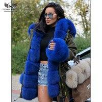 Tatyana Furclub Real Fur Parka Coat 2018 New Winter Fur Jacket For Women Armygreen Outerwear With Blue Fur Collar Fashion Parkas