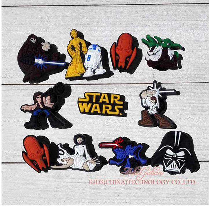 Single Sale 1pc Star WarPVC Shoe Charms Shoe Accessories Shoe Decoration Shoe Buckles Accessories Fit Bands Bracelets Croc JIBZ