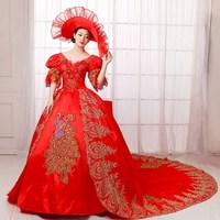 luxury red peacock beading embroidery gown with hat venice medieval dress Renaissance gown queen Victorian/Marie/ Belle Ball