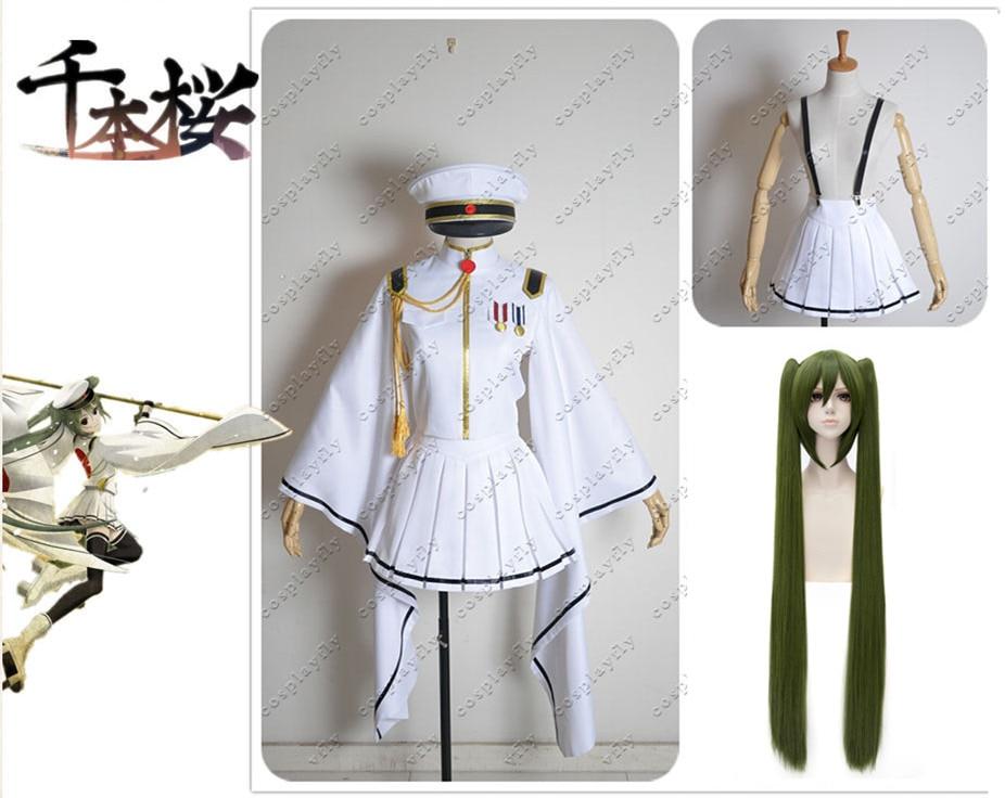 Vocaloid Senbon Sakura Miku Dress Girl Girls Cosplay Costume White Flame Version  /  Wig and Wig Cap (C0237)