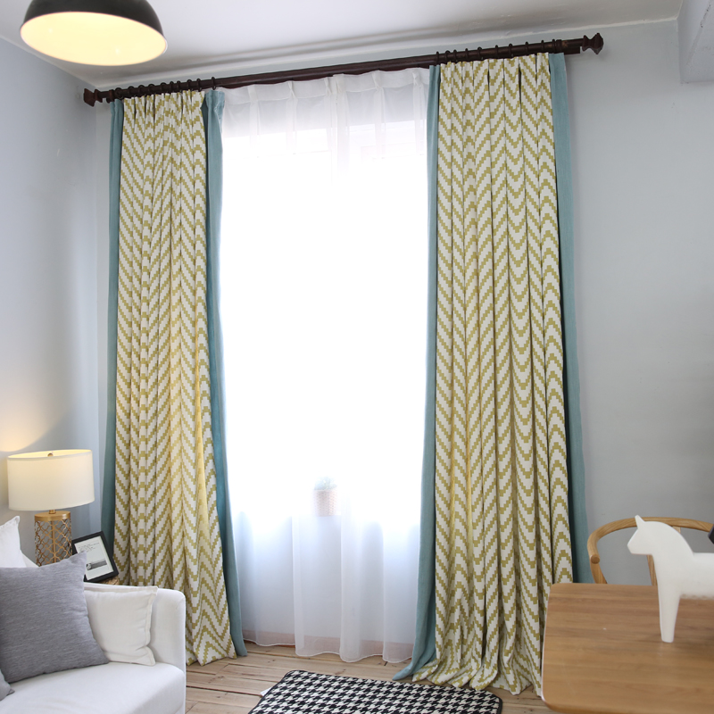 1 Piece Readymade Modern Curtains Panel Lr Sansheng Finished Geometric Window Blind Children Bedroom Curtain For Living Room