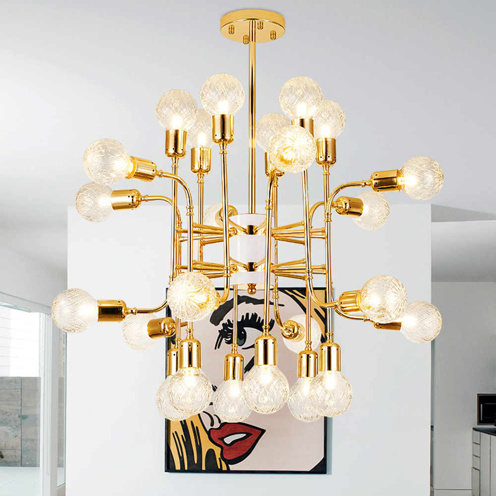 16/24 heads Modern Shade Glass Chandelier Light LED Pendant Lamp Artistic Sphere Beanstalk Molecular Chandelier Plafondlamp modern shade glass artistic pendant golden and black e14 bulb modern lighting sphere beanstalk molecular mall shop decoration