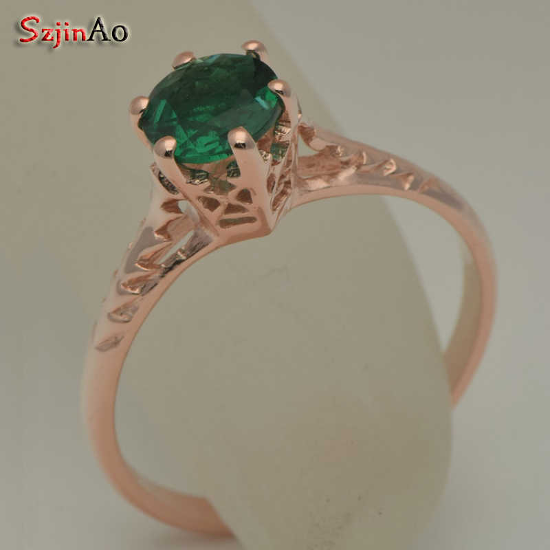 Szjinao real 14k Rose Gold jewelry Natural emerald Rings For Women Custom Processing Luxurious Wholesale  Gift  Wedding jeweller
