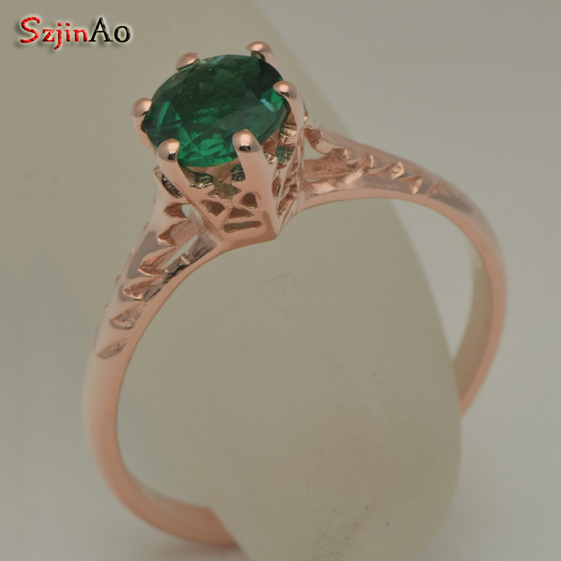 Szjinao Custom Processing Exquisite Luxurious Rose Gold Color Emerald Rings For Women Wholesale Christmas Gift Wholesale szjinao custom processing exquisite luxurious rose gold color emerald rings for women wholesale christmas gift wholesale