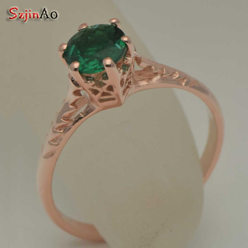 Szjinao real 14k oro rosa joyería anillos Esmeralda Natural para mujeres procesamiento personalizado lujo venta al por mayor regalo boda joyería