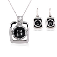Hot Sale Charm Crystal Czech Rhinestone Black Enamel Jewelery Set for Women Necklace & Earrings Brand Drop Oil Jewelry Sets