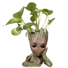 Купить с кэшбэком Christmas Gift Pot Skull Flower Vase Handmade Baby Action Baby Tree  Figure Pen holder Resin Twig Guardians Vessel Tree Men