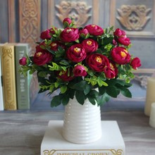 Silk Flower Fake Peony Flower Hot Vivid 6 Branches Autumn Artificial Flowers Wedding Home Party Decoration High Quality