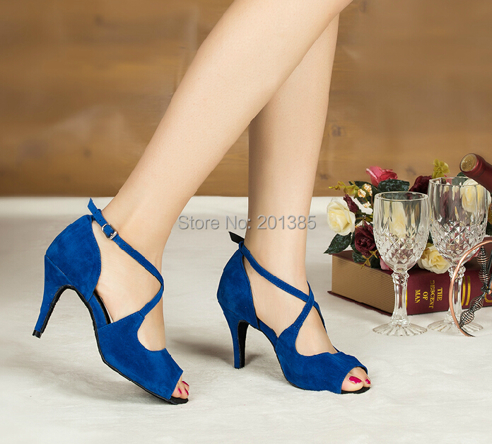 Free Ship Wholesale Sexy Women latin Dance Shoes Blue Salsa Dance Shoes Ballroom Shoes ALLSIZE