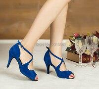 Wholesale Sexy Ladies Blue Velvet LATIN Shoes Ballroom Dance Shoes Salsa Tango Shoes Size 4 4