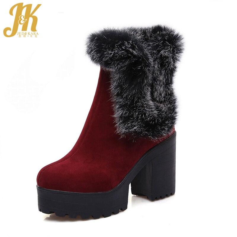 ФОТО 2017 Thick High Heels Rabbit Fur Charm Women Boots Keep Warm Winter Boots Platform Shoes Woman Snow Boots Big Size 34-43