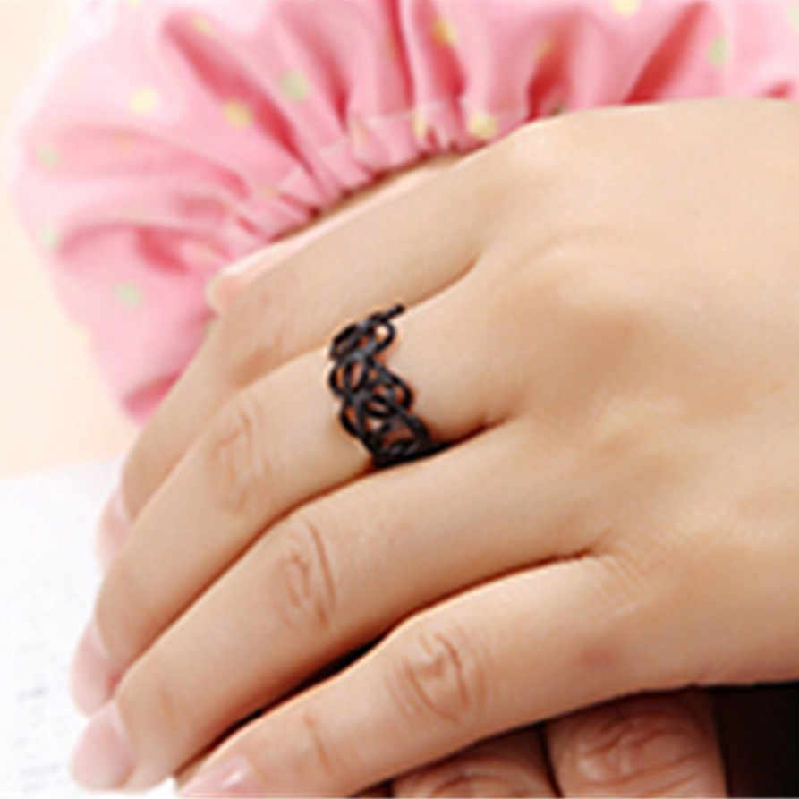 G290 New Vintage Punk Elastic Gothic Anel Anillos Girl Bijoux Black Stretch Tattoo Hollow Ring Finger For Women Jewelry Gift