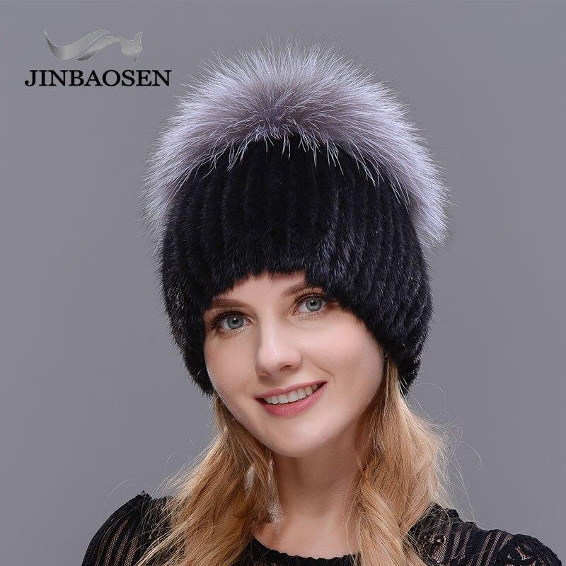 Ski caps d'âge Moyen femmes en hiver chandail tricoté de fourrure de vison femmes chapeau à la mode de mode Européen et Américain style