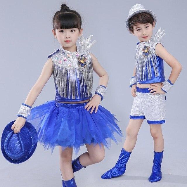 079f35002c34 Kids Children Blue Silver Sequin Hip Hop Dance Costume Stage Jazz ...