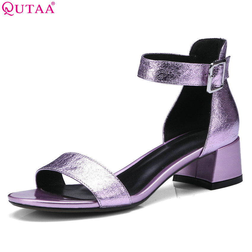 QUTAA 2018 Women Sandals Peep Toe Sheep Skin Women Shoes Casual High Quality Lovely Square High Heel Women Sandals Size 34-42 купить в Москве 2019
