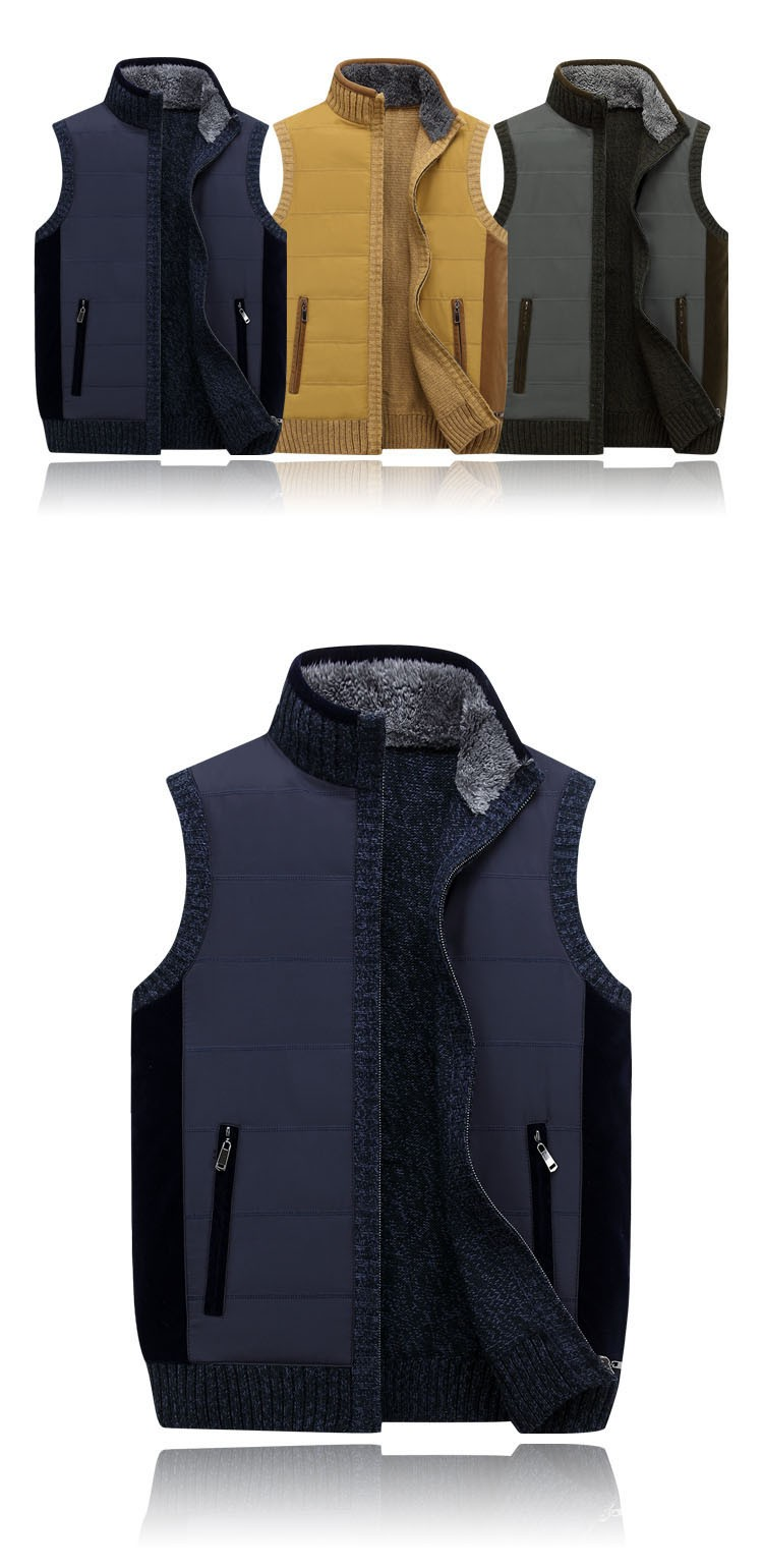 Aolamegs Men Vest Sweater Stand Collar Sleeveless Cardigan Outwear Zipper Sweatercoat 2016 High quality brand clothing Plus Size (6)