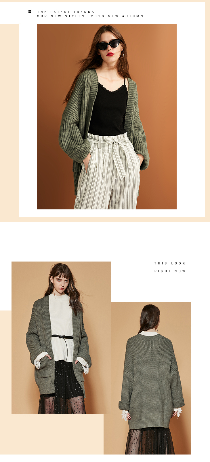 ONLY womens' autumn new cardigan long sweater sweater women Cuff design Cardigan design|11833B504 18