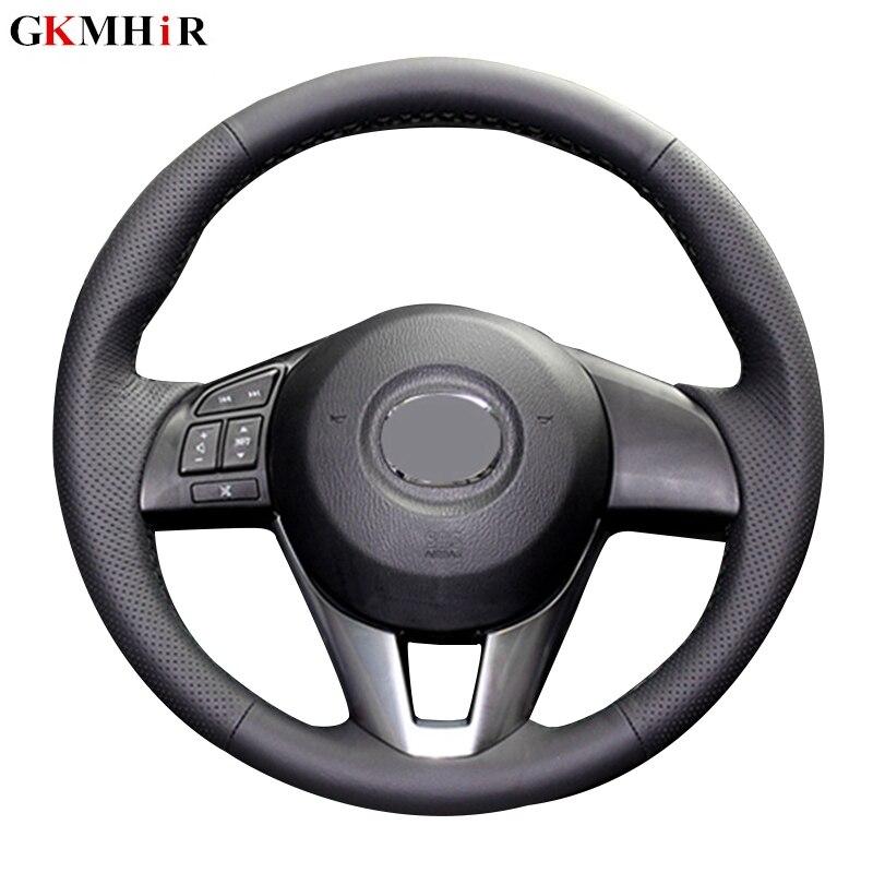 Black Genuine Leather Steering Cover Black Car Steering Wheel Cover for Mazda CX 5 CX5 Atenza 2014 New Mazda 3 CX 3 2016