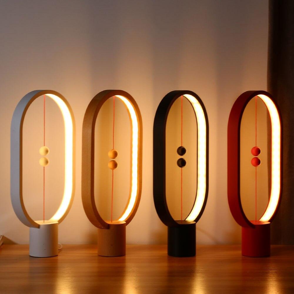 Хэн балансная лампа светодио дный ночник внутренней отделки ABS Материал прекрасный настольные свет 48 шт. светодио дный s Яркость ночник USB