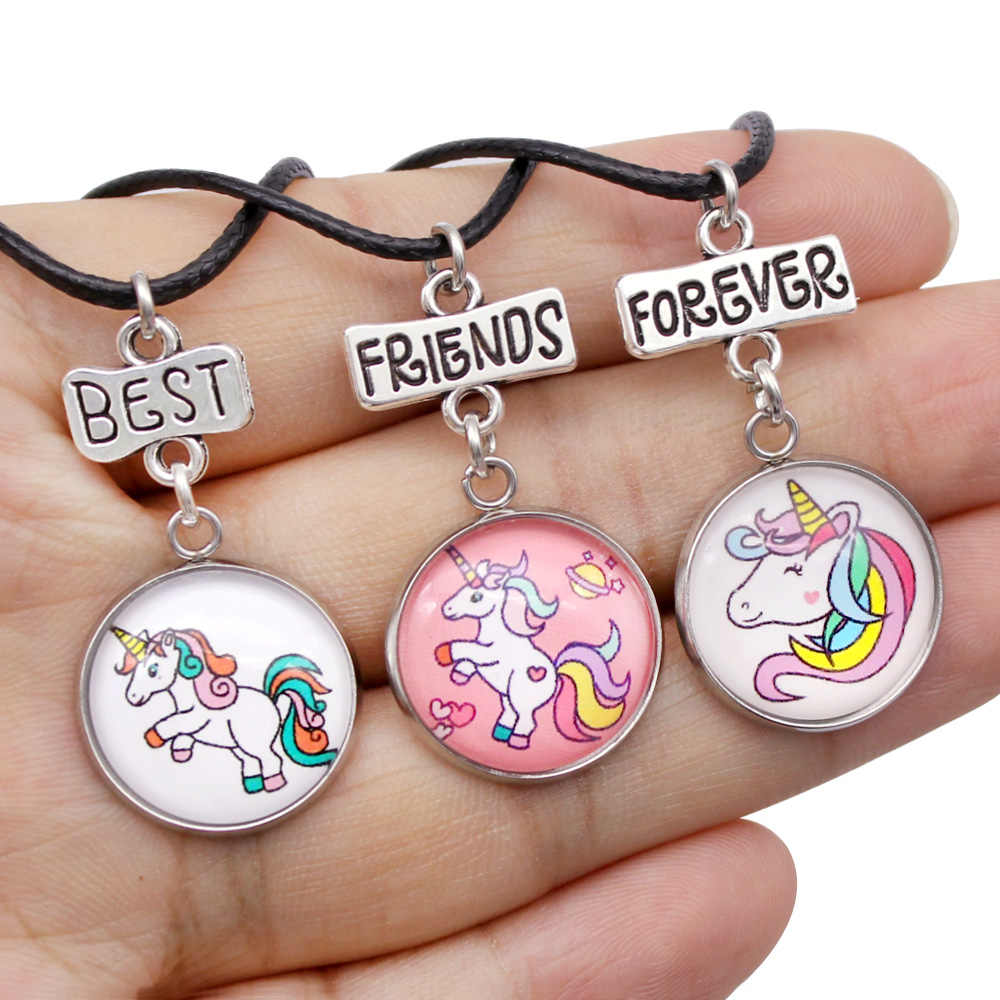 3pcs/set Unicorn Necklace, Little Middle Big Sister Necklace, BFF Best Friends Forever Necklace For Women Girl Child Gift