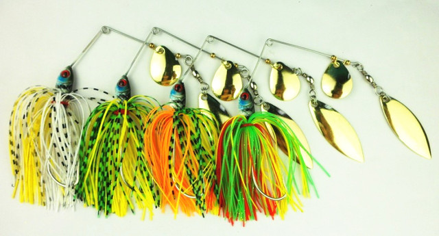 Multi-Color Double Willow Blade Spinnerbaits – 4pcs Pack