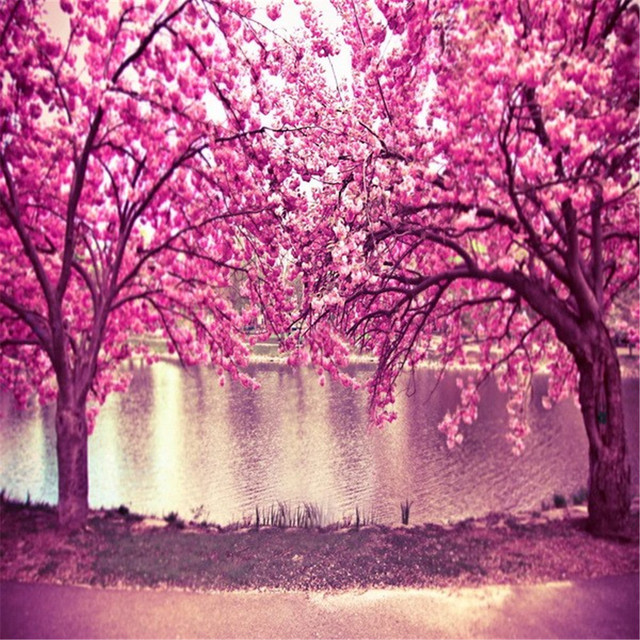 Pink Cherry Blossom Trees Backdrops Photography Printed Flowers River Kids Wedding Spring Nature Scenic Photo Shoot Background