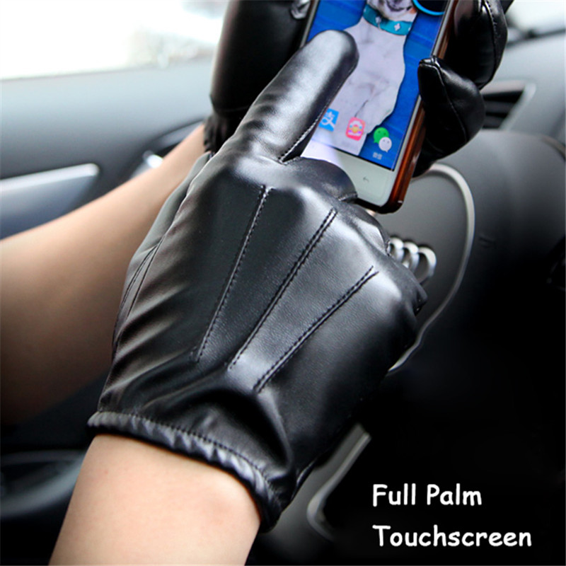 Hot DealsMen Gloves Driving Black Palm-Touchscreen Long-Keeper Full-Fingers Fashion Non-Slip Male