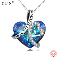 Necklace Women 925 Sterling Silver Necklace I Love You Forever CZ Crystal Pendants Necklaces Best Gift for Lover Mother GNX13853