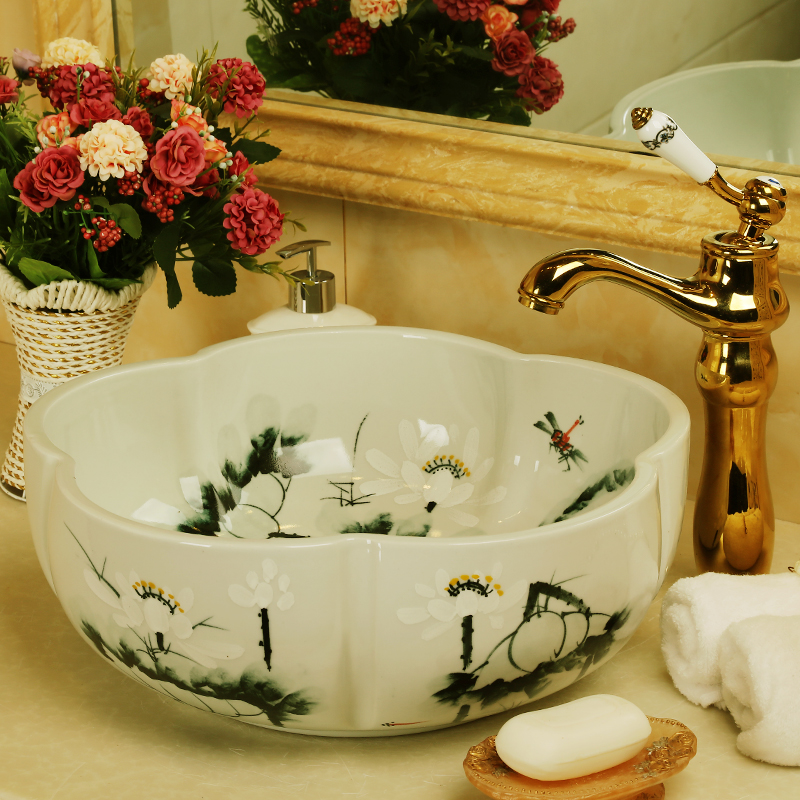 China Handmade Lavabo Washbasin bathroom sink bowl countertop Flower Shape Ceramic wash basin bathroom sink (6)