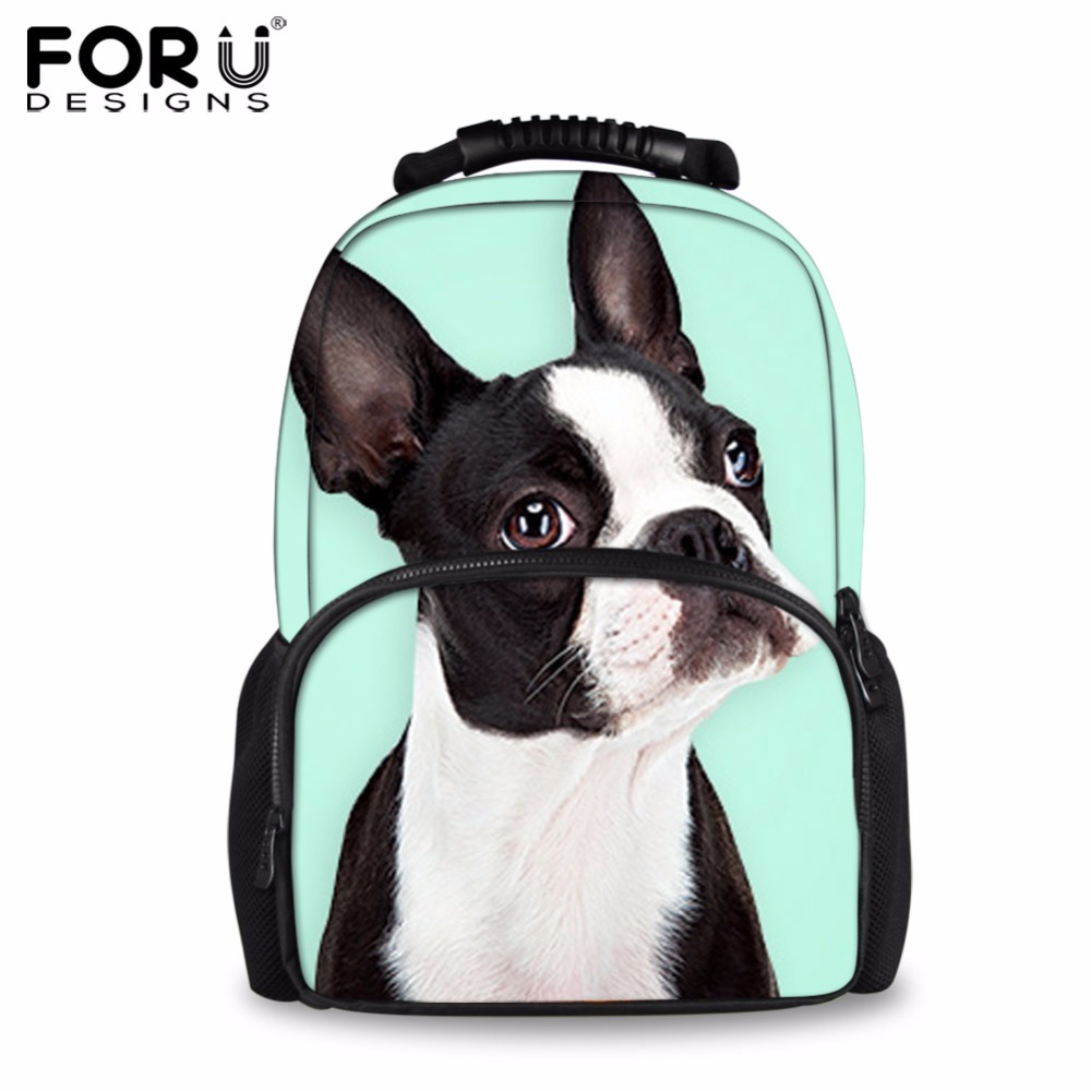 FORUDESIGNS Fashion Women Felt Backpack Funny 3D Boston Terrier Dog Printing Backpacks for Teenager Girls Travel Laptop Mochilas forudesigns children backpack anime funny printing backpacks for teenager girls boys travel laptop bags school bagpack mochila
