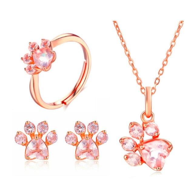 Charm CZ Wedding Jewelry Set Luxury Crystal Heart Fashion Rose Gold Paw 5x5.5mm