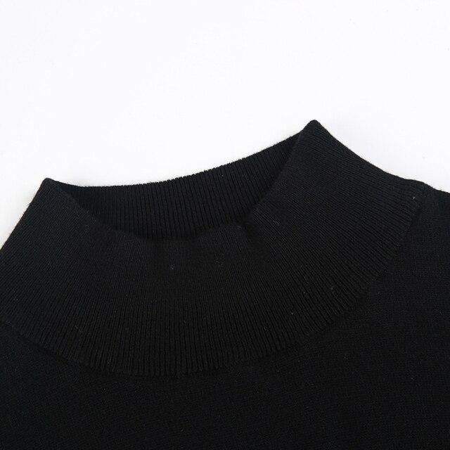 Hdy haoduoyi 2019 패션 스웨터 여성 캐주얼 솔리드 블랙 풀 슬리브 풀오버 간략한 느슨한 터틀넥 가을 여성 스웨터