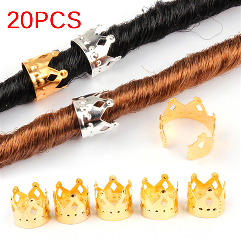 20pcs Adjustable Hair Cuffs Clips Ring Tube Gold Silver Jewelry Metal Hair Braid Dreadlock Beads Crown Hollow Out Design