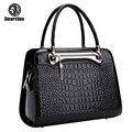 SmartNee Luxo Elegante Fêmea Big Bags Saco Do Mensageiro Marcas Famosas Bolsas de Couro Das Mulheres do Couro de Crocodilo Bolsa