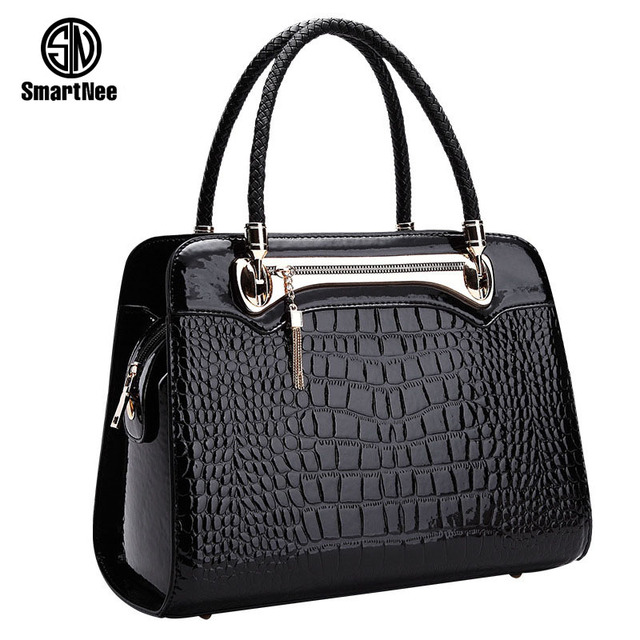 SmartNee Luxury Elegant Female Big Bags Cowhide Messenger Bag Famous Brands Handbags Crocodile Women'S Leather Handbag
