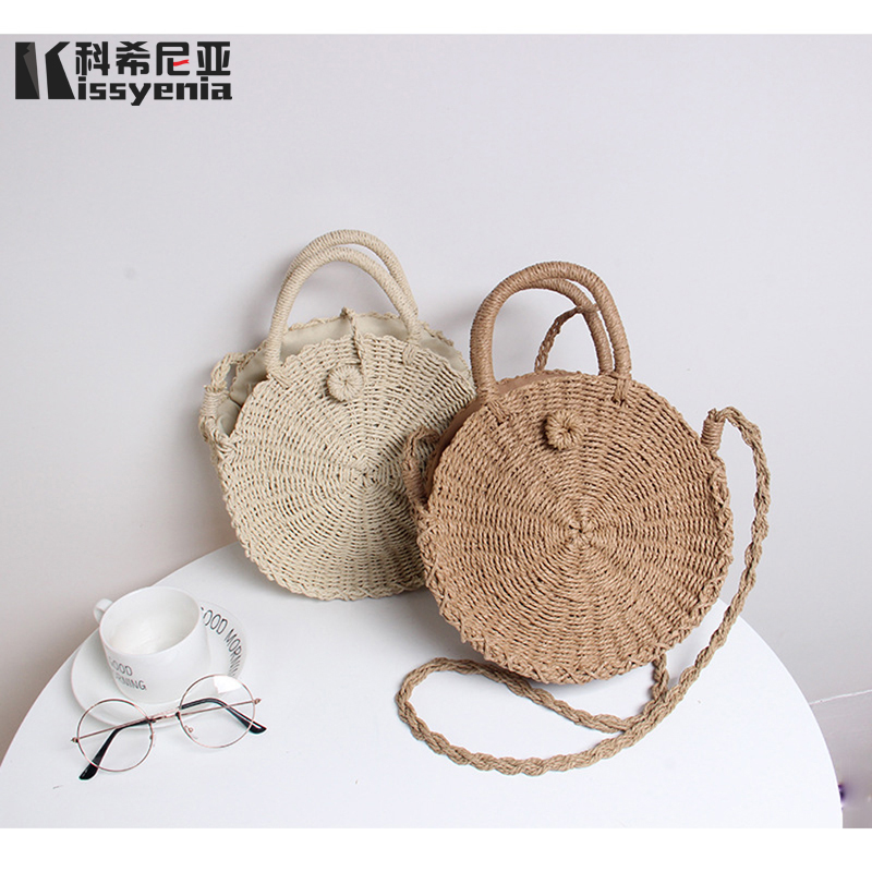 Kissyenia INS Hot Handmade Bohemian Bali Beach Bags Summer Wicker Weaving Bags Women Circular Rattan Straw Knitted Bags KS1186 women bohemian straw bags ladies small beach weave handbag tote handmade summer wicker basket ribbons rattan holiday travel ins